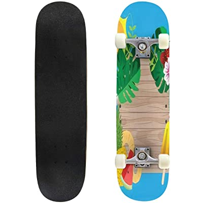 "Little White Wildflower Flora Design Elements Wild Life Nature Outdoor Skateboard 31""x8"" Pro Complete Skate Board Cruiser 8 Layers Double Kick Concave Deck Maple Longboards for Youths Sports : Sports & Outdoors"