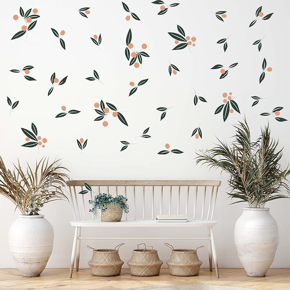 Supzone Tangerines Green Leaves Wall Decal Fruit Tree Leaf Wall Sticker Fresh Plant Wall Decor DIY Vinyl Mural Art for Bedroom Living Room Sofa Backdrop TV Wall Decoration