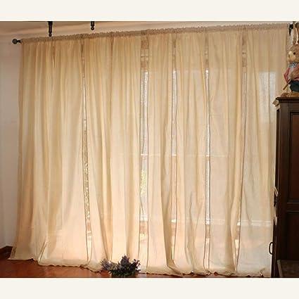 Curdecor Vintage Lino Semplice Le Tende Paese Stile Pizzo Soft Tenda Oscuranti Semi Privacy Pannello Finestra Tende Per Il Balcone Soggiorno Beige 180x180cm 71x71inch Amazon It Casa E Cucina