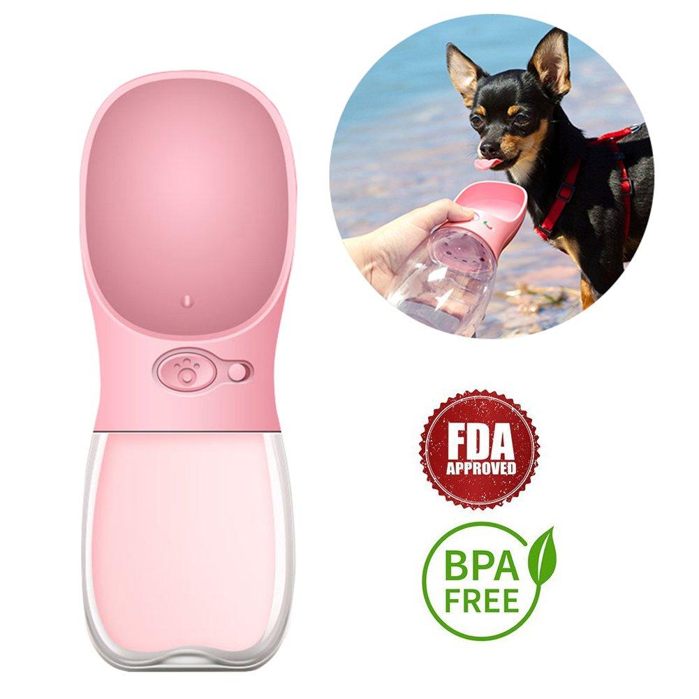 Portable Dog Water Bottle, Keeper Pet Water Dispenser Antibacterial Food Grade Leak Proof Dog Cat Travel Drink Bottle Bowl, Pet Outdoor Drinking Cup-350ml (Pink)
