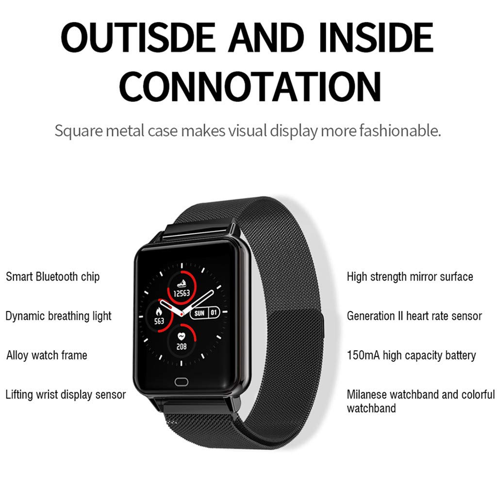 YNAA for Android iOS, Waterproof Smart Sport Watch, Blood Pressure Heart Rate Monitor Remote Photography Smart Bracelet (Black) by YNAA (Image #3)