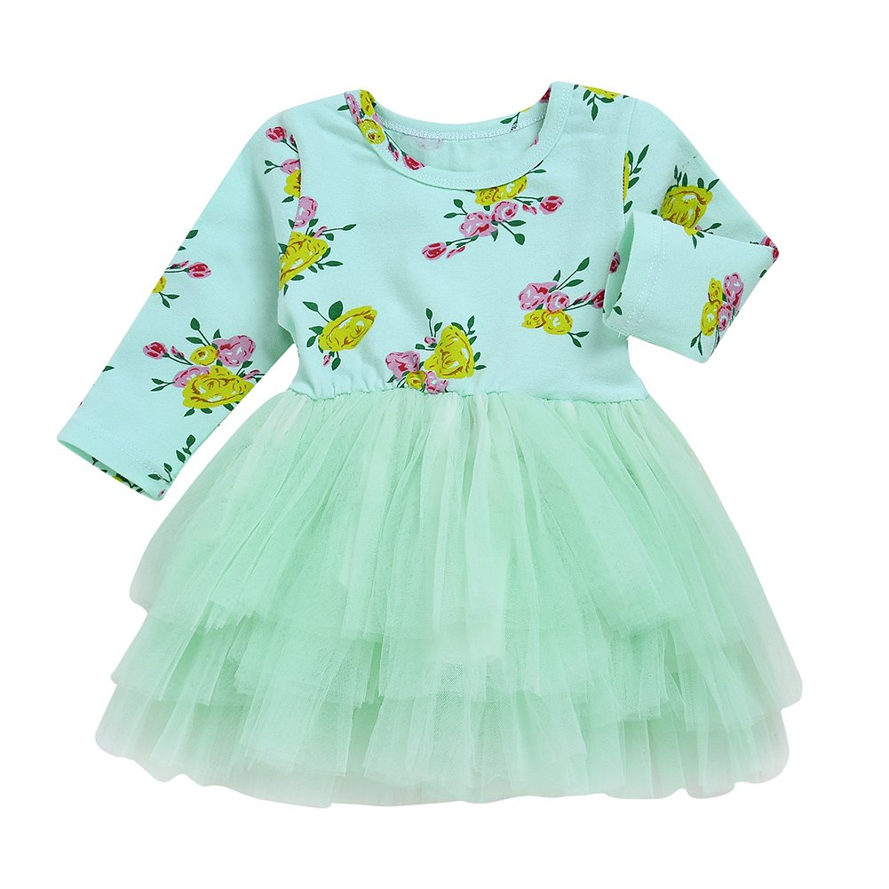 Baby Girls Long Sleeve Floral Print Tulle Tutu Princess Dress Skinny Causal Mini Skirt Sundress For 1-6 Years (Green, 120/5-6T)