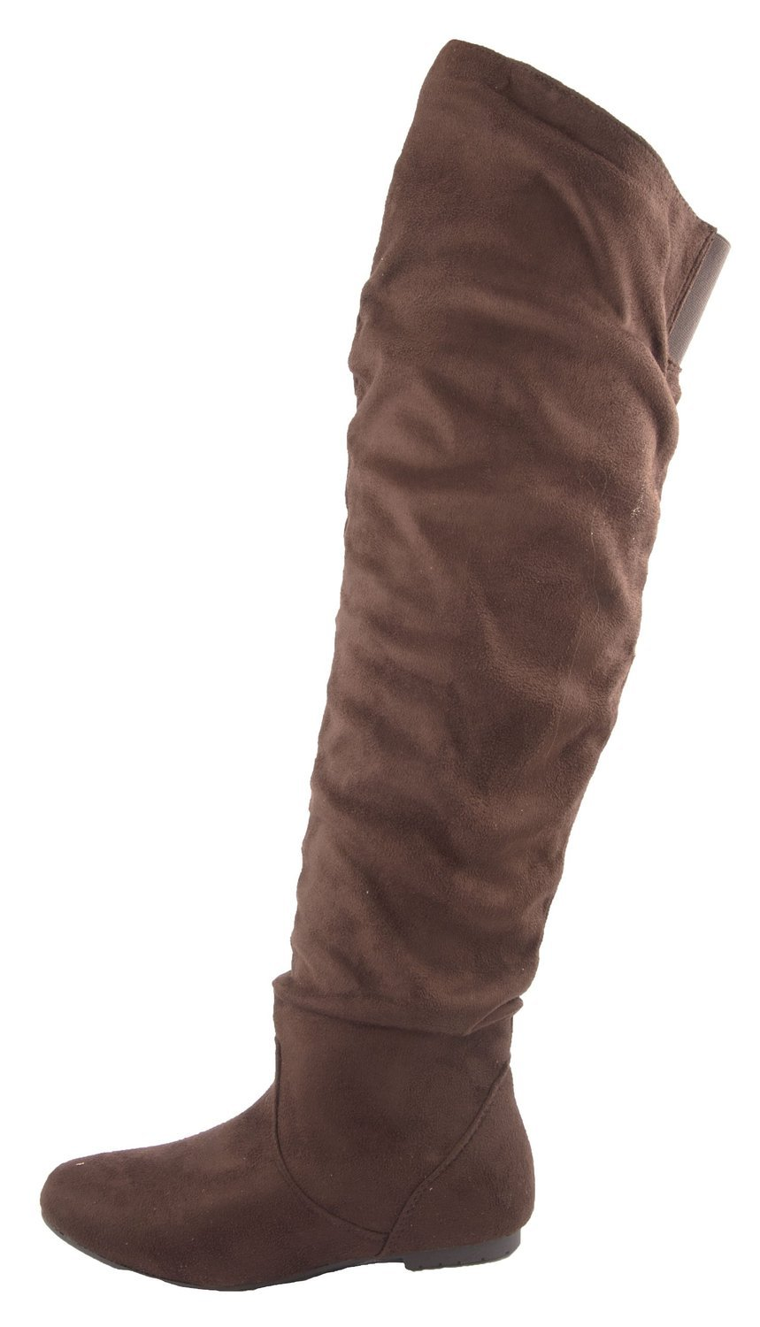 Nature Breeze Women's Vickie Hi Slouchy Over The Knee Boots (8.5 B(M) US, Brown Suede)