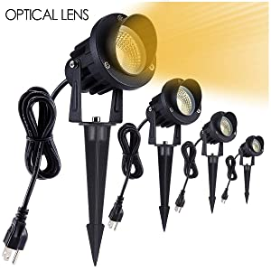 JEKOOMI Led Landscape Lights,7W 120V Warm White Outdoor Spotlight,Landscape Lighting for Tree Lawn Wall Flag Garden Yard with US Plug in and Ground Stake 4 Pack