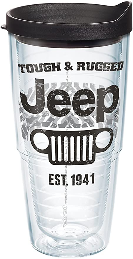 c033aa793c4 Tervis 1268422 Jeep Brand - Tough and Rugged Tumbler with Wrap and Black  Lid 24oz, Clear