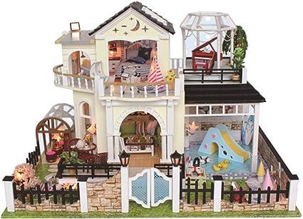 Wooden Dollhouse Miniature DIY Dolls House Villa LED Light All Furniture Kit