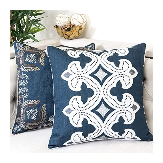 Homey Cozy Applique Throw Pillow Cover,Navy Series Modern Line Decorative Square Couch Cushion Pillow Case 20 x 20 Inch, Cover Only - Top quality and stylish throw pillow | This beautiful cotton oversized pillow adds elegance to any living space.There are noble,elegant,retro,classic,stylish pattern,the woven thread stand out against the eggshell fabric background. Hidden zipper for easy removal | At the end of the cushion cover there is a smooth hidden zipper that allows easy insertion or removal.Careful select top brand zipper with high-end quality for stronger and more durable everlasting for your bedroom or living room decoration. Durable polyester fabric | Durable 100% polyester pillowcases,the fabric is thick,high quality,soft,breathable environmental protection.Well contexture fabric is skin-friend,comfort and soft. - living-room-soft-furnishings, living-room, decorative-pillows - 61UHXervWlL. SS570  -