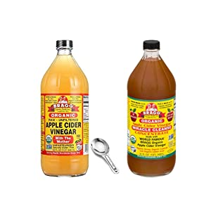Bragg Organic Miracle Cleanse Apple Cider Vinegar 32oz and Organic Apple Cider Vinegar With the Mother 32onz Including Measuring Spoon Bundle