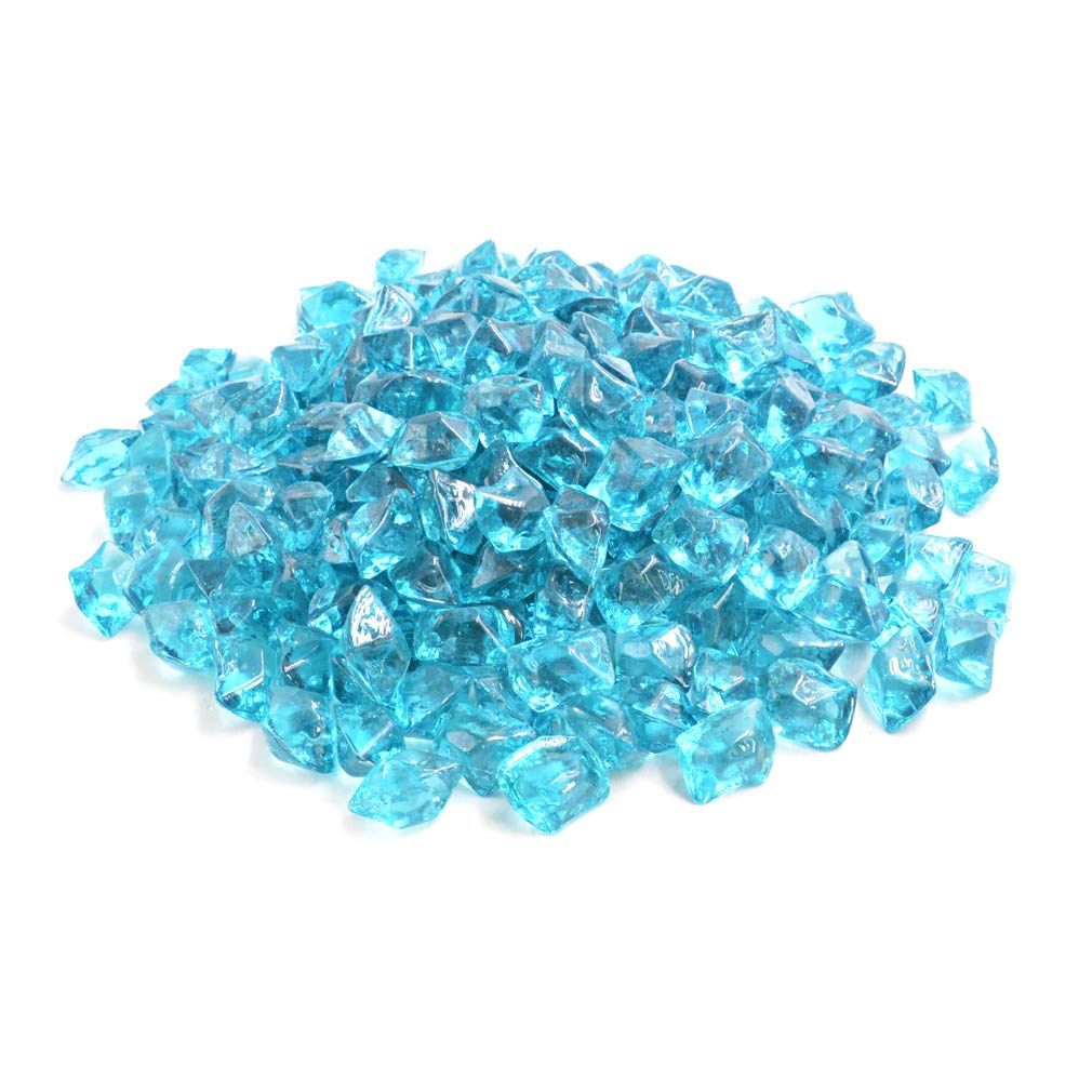 Mr. Fireglass 1/2¡± Polygon Fire Glass for Natural or Propane Fire Pit, Fireplace and Fire Table, 10 lb, Aqua Blue