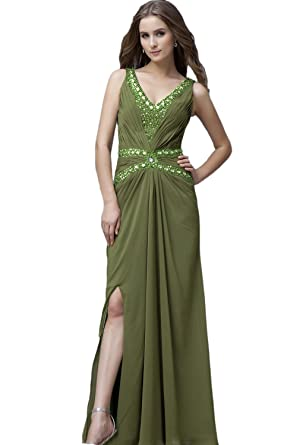 Albizia V-neck Floor-length Chiffon Evening Dress(2)