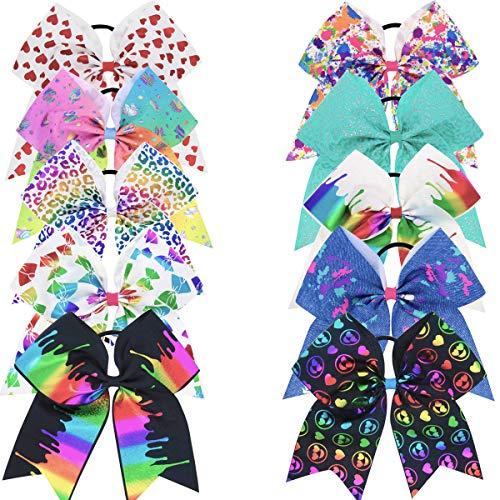 """DeD 10 Pcs Elastic Bow 8"""" Large Hair bows Boutique Rainbow Golden-plating Grosgrain Ribbon Pigtail Holder For School Girls Teens Cheerleader"""