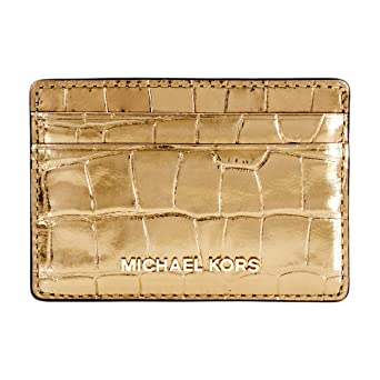 808a8dec67e3 Image Unavailable. Image not available for. Color: Michael Kors Jet Set  Travel Metallic Embossed Leather Card Holder 32F7MF6D0E710