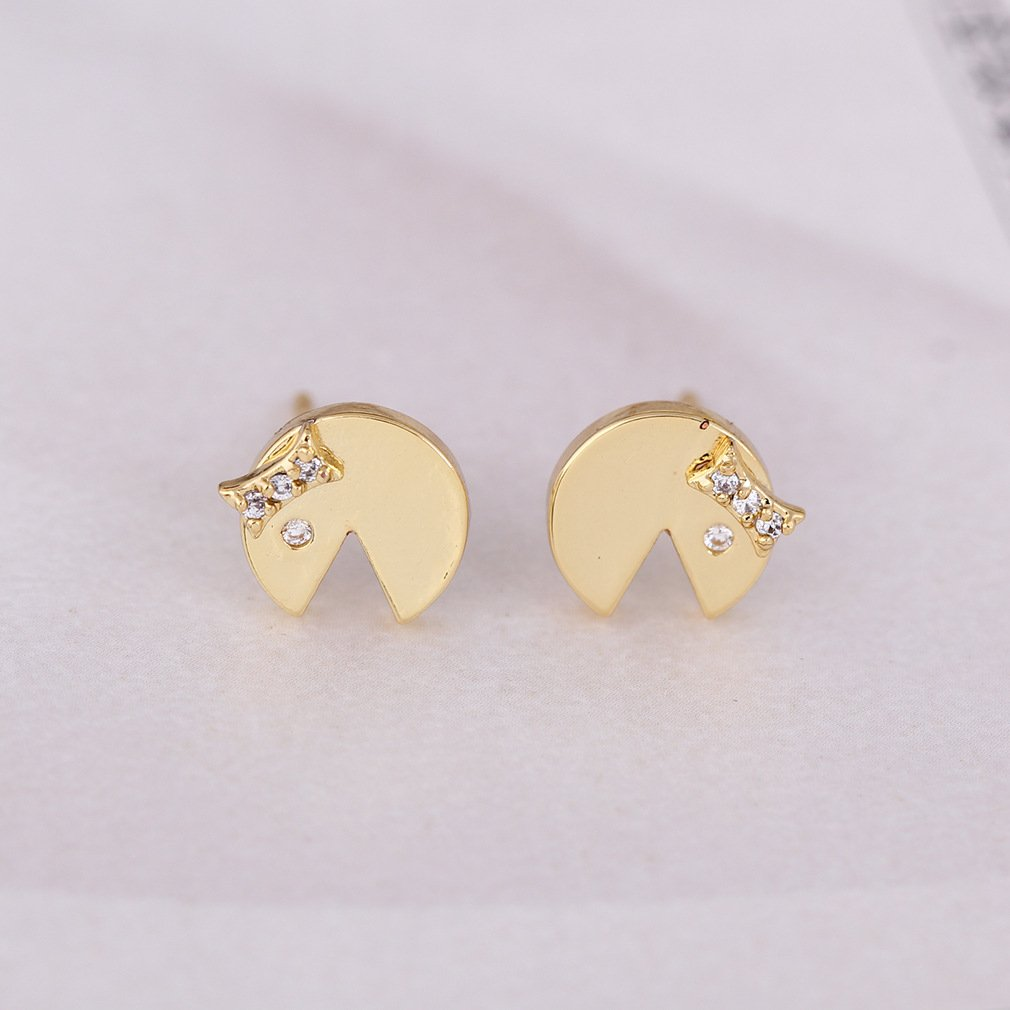 Dwcly Funny Emoji Happy Face Gap Round Stud Earring Cartoon Face Ear Jewelry for Kids