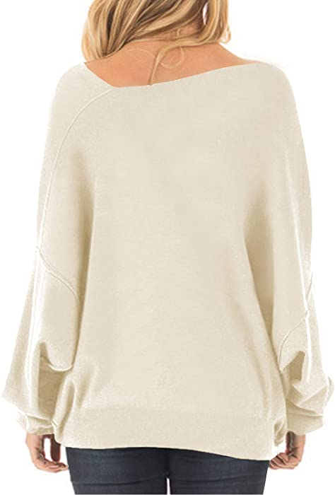 8de306b461c7a Off One Shoulder Sweatshirt for Women Long Sleeve Pullover Slouchy Baggy  Tops