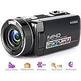 ビデオカメラデジタルカメラフルHD 18Xデジタルズームナイトビジョンビデオカムコーダー、液晶と270度の回転画面リモートコントロール付き …