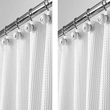 mDesign - 2 Pack - Long Polyester/Cotton Blend Fabric Shower Curtain with Waffle Weave and Rustproof Metal Grommets for Bathroom Showers and Bathtubs - 72  x 84  - White
