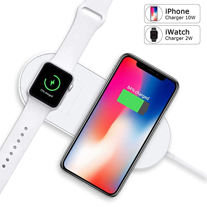 finest selection a4d93 daa5a Apple Watch Charger, iPhone Wireless Charger Replacement, Ultra-Thin 2 in 1  Qi Charging Pad Stand Compatible with Apple Watch Series 1/2/3/4 iPhone X  ...