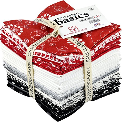 KimberBell Basics Black White & Red 32 Fat Quarters Maywood Studio