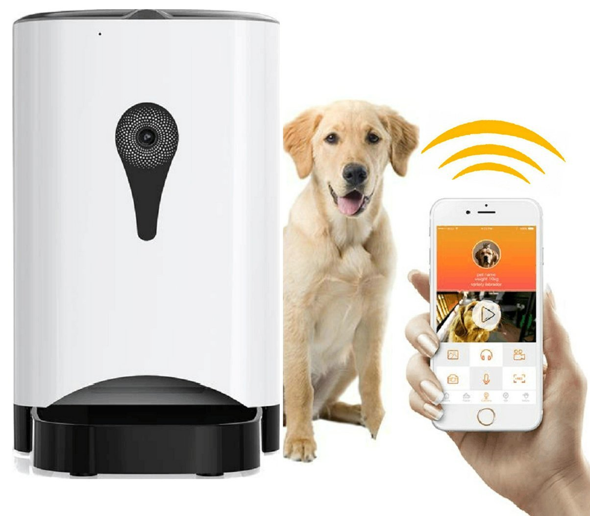 Automatic Pet Feeder Smart Food Dispenser for Dogs and Cats App Wi Fi Control Feeder for iPhone iOS and Andriod with Real Time HD Camera Voice Recording Portion Control Programmable Timer 5 L