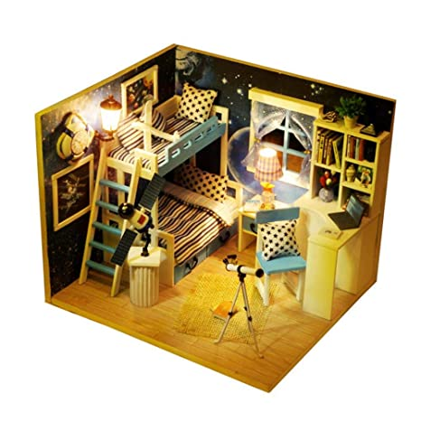 Amazon Com Dollhouse Miniatures Diy Dollhouse Kit Wooden Dollhouse