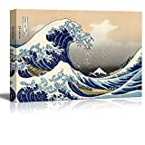 "Wall26 Canvas Print Wall Art - The Great Wave Off Kanagawa by Katsushika Hokusai Reproduction on Canvas Stretched Gallery Wrap. Ready to Hang -24""x36"""