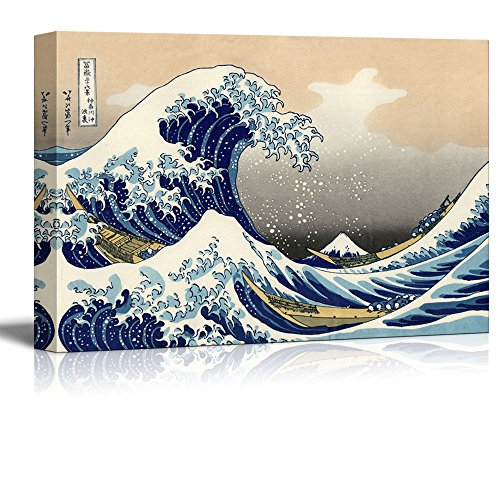 Canvas 24in Print - wall26 - The Great Wave Off Kanagawa by Hokusai - Canvas Art Wall Decor- 24