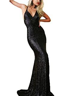 Staypretty Gold Sequins Mermaid Dress for Women Cross Evening Gown Long Backless