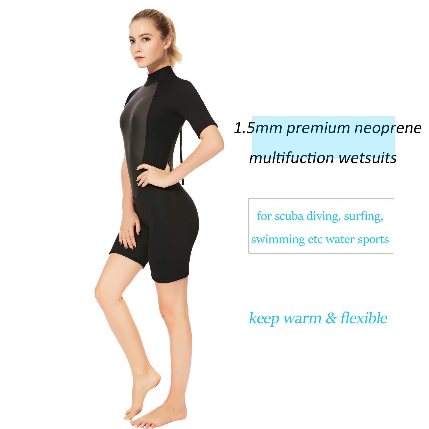 Realon 2mm Shorty Wetsuit Women CR Neoprene Surfing Scuba Diving Snorkeling Swimming Suit (2mm Shorty Black, Medium) by Realon (Image #6)