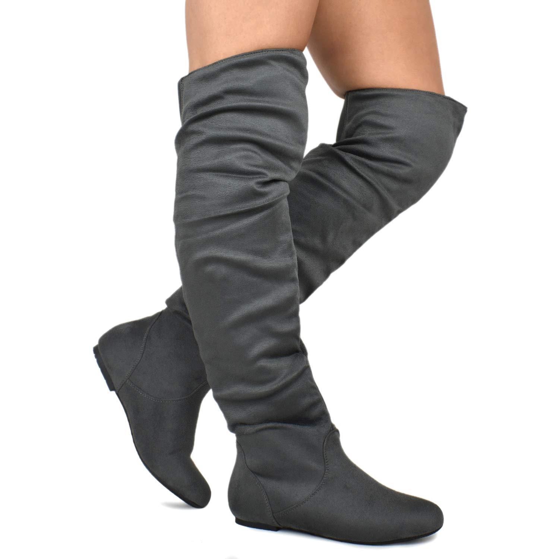 Premier Standard - Women's Slouchy Over Knee High Boots - Comfortable Low Heel Walking Boots