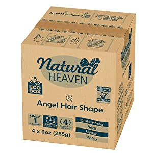 ECOBOX Natural Heaven Pasta Substitute | Angel Hair Hearts of Palm Noodle | 4 Count 9 oz | Environmental friendly