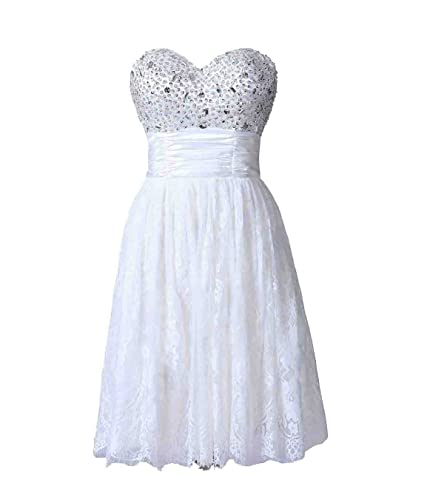 Exlinonline Women's 2017 Pleated Strapless Lace Short Prom Party Dress PLF459