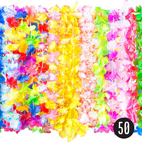 (Hawaiian Leis Bulk Party Favors - 50 Tropical Hawaiian Necklace Silk Flower Leis, Kids or Adults Luau Party Decorations and Party Supplies)