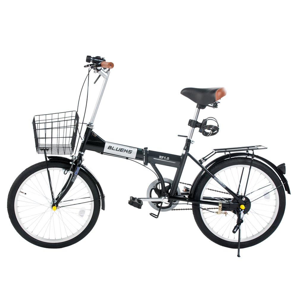 SHINE WOOD 20インチ 折りたたみ自転車 カゴ付き 前後フェンダー
