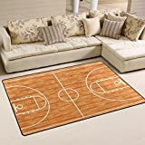 WOZO Sport Lover Basketball Court Parquet Area Rug Rugs Non-Slip Floor Mat Doormats for Living Room Bedroom 60 x 39 inches