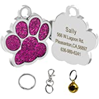 Didog Bling Bling Paw Print Pet ID Tags for Small Dogs and Cats,Personalized Engraving,Hot Pink
