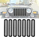 ICARS Matte Black Mesh Grill Inserts Grille Guard Square Style for 1997-2006 Jeep Wrangler TJ Unlimited Rubicon Sahara - 7PCS
