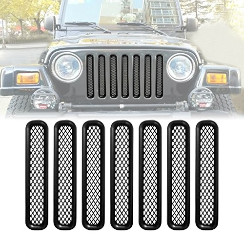ICARS Matte Black Mesh Grill Inserts Grille Guard for 1997-2006 Jeep Wrangler TJ Unlimited Rubicon Sahara - 7PCS -