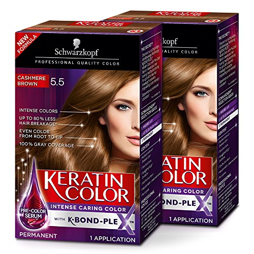 Schwarzkopf Keratin Color Anti-Age Hair Color Cream, 5.5 Cashmere Brown (Pack of 2) by Schwarzkopf