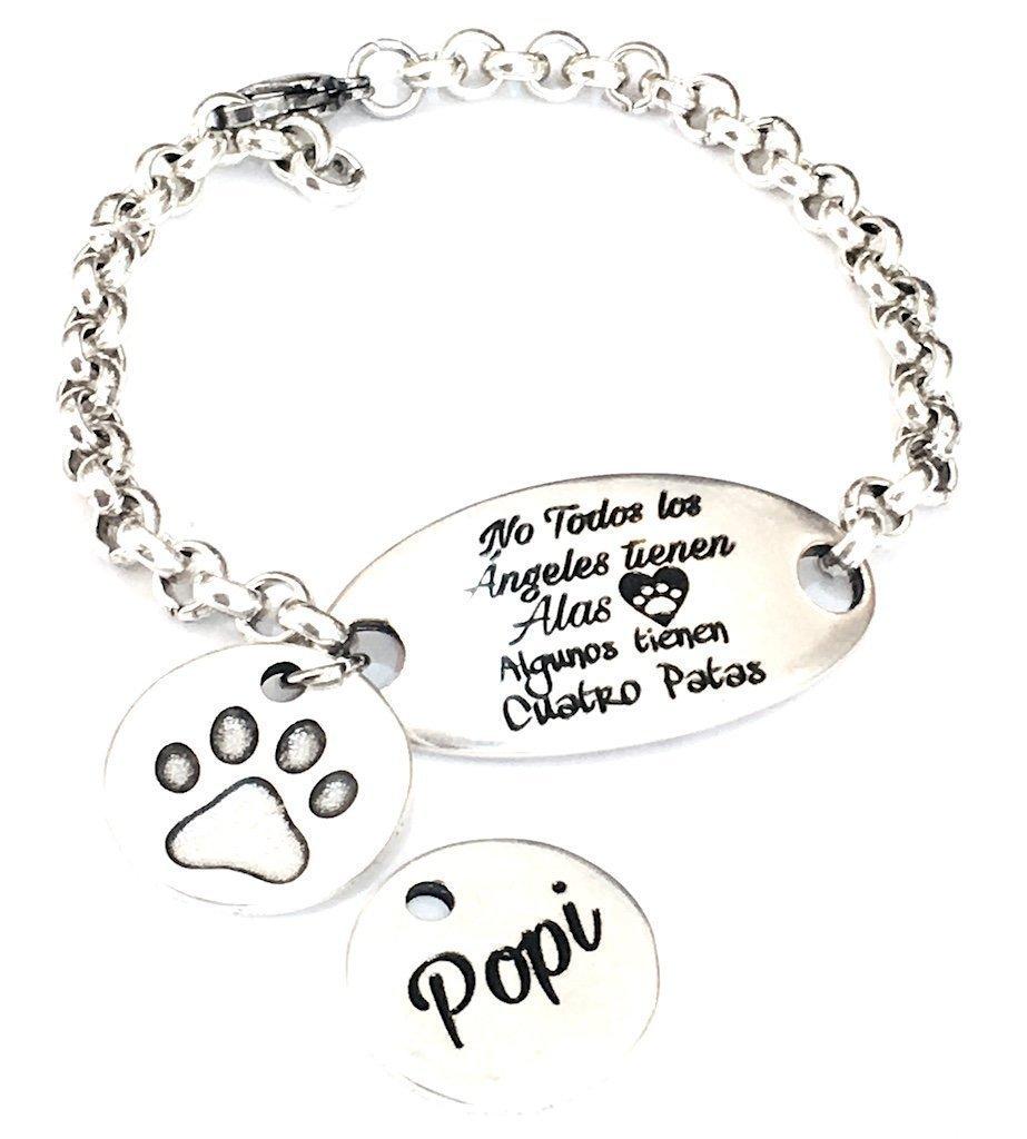 Pulsera Dedicada a las Mascotas con Mensaje Grabado y Medalla con Nombre Personalizado. A Medida.