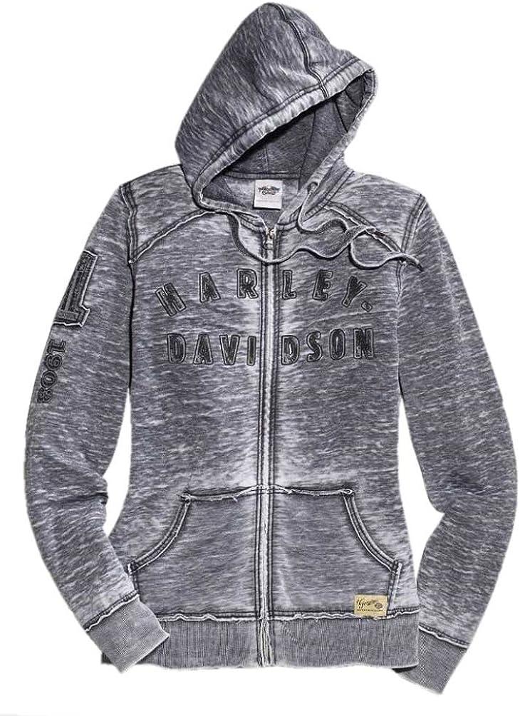 Harley-Davidson Mens Side Print H-D Burnout Wash Grey Full Zip Hoodie Jacket