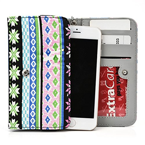 Exxist Universal Woman's Wristlet Phone Wallet Protective Case with Card Slots Fits HTC Desire 608t (HTC CP3)   Desire 609d   Desire 610   Desire 610 LTE   Desire 612 (Tribal Pattern) - Cover Para Htc Desire 610