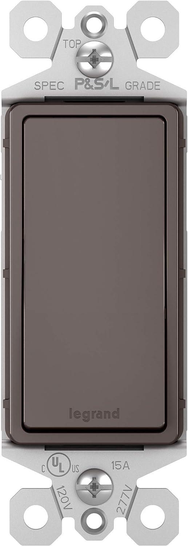 Legrand radiant 15 Amp Rocker Wall Switch, Decorator Light Switches, Brown, Single Pole, TM870CC10