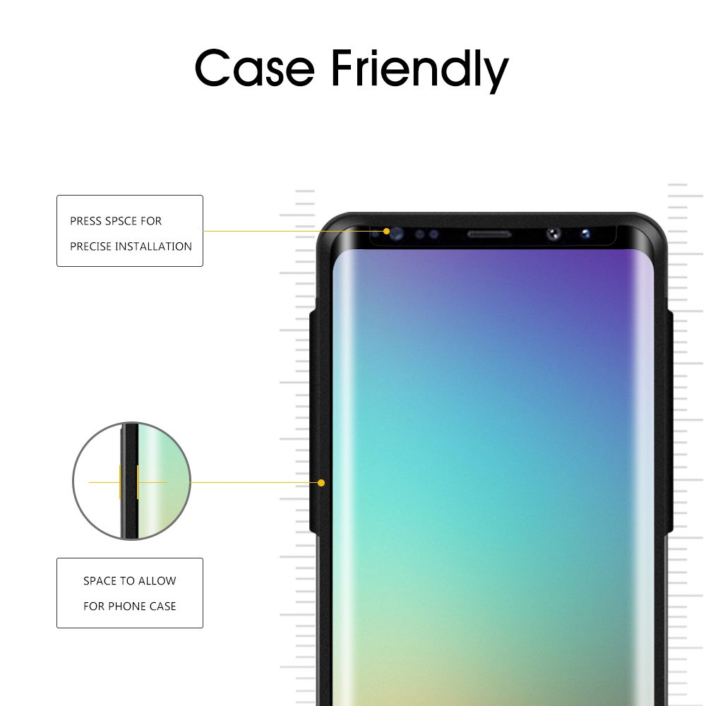Galaxy S9 Plus Glass Screen Protector, [Update Version] OTAO 3D Curved Dot Matrix Samsung S9 PLUS Tempered Glass Screen Protector 2018 with Easy Installation Tray (Case Friendly) (NOT S9) by OTAO (Image #3)