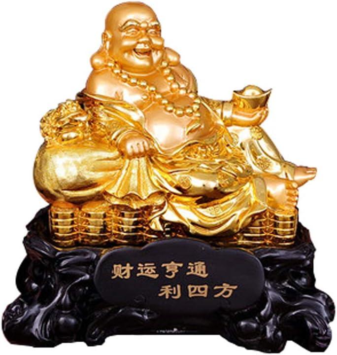 """5/""""H Chinese Happy Laugh Maitreya Buddha Wealth Statue"""