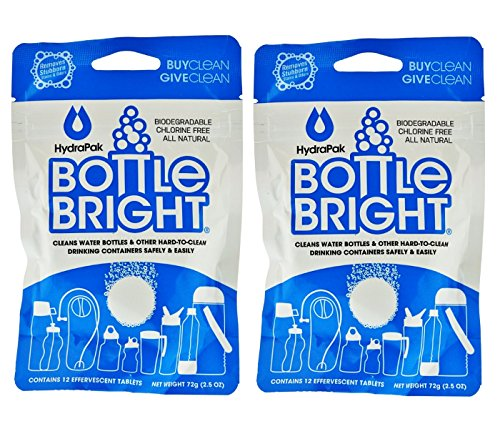 2- PACK Hydrapak Bottle Bright 12 Count Biodegradable Bottle Cleaning Tablets, Chlorine-free and All Natural, Safe Way to Clean and Odor-free Bottles by Hydrapak