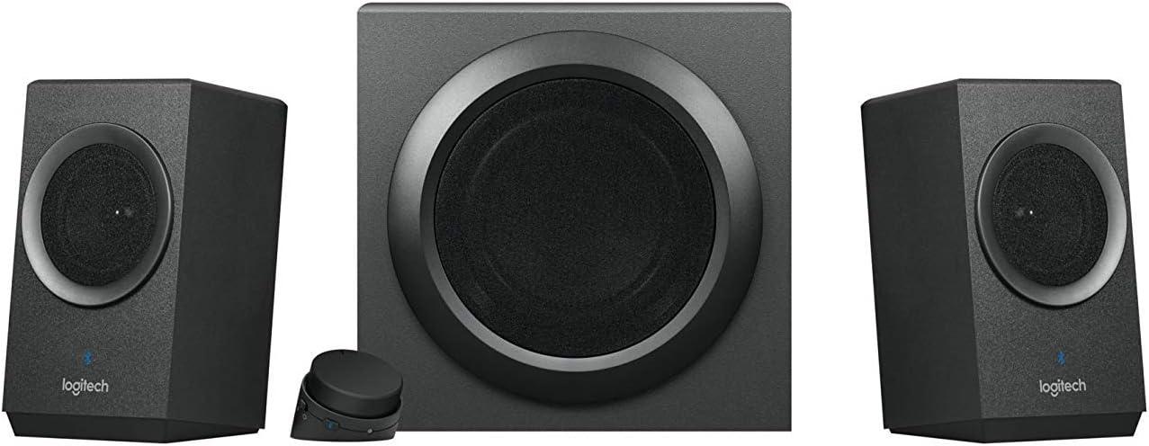 Logitech Z337 Sistema de Altavoces, Subwoofer, Sonido Pleno, 50W de Pico, Graves Profundes, Entrada Audio 3.5 mm/RCA, Bluetooth, Mando, Enchufe EU, PC/PS4/Xbox/TV/Smartphone/Tablet, Negro