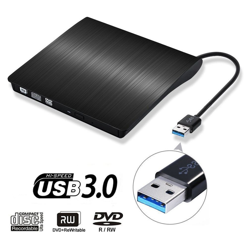 External CD DVD Drive , Portable DVD Rewriter Burner, USB 3.0 DVD Drive CD +/-RW DVD +/-RW Burner Super Drive for Apple Mac Macbook Pro Windows 10 Laptop PC (Black)