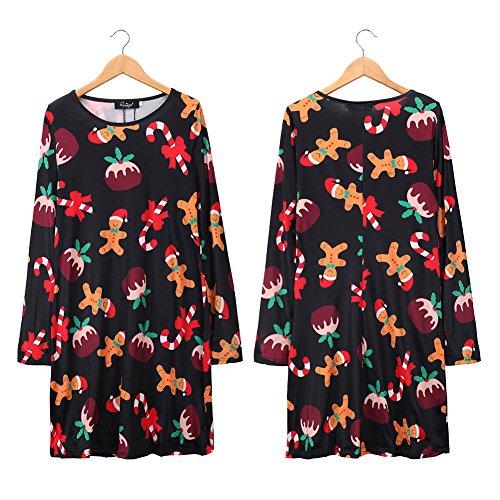 1a63b86fc77 on sale Hoverwings Robe de Noël Manches Longues Femme Fille Imprimé Bonhomme  de neige Père Noël