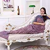 Fenghenshun Mermaid Tail Blanket For Adult,Super Soft and Fashion Sleeping Bags (Pink purple)