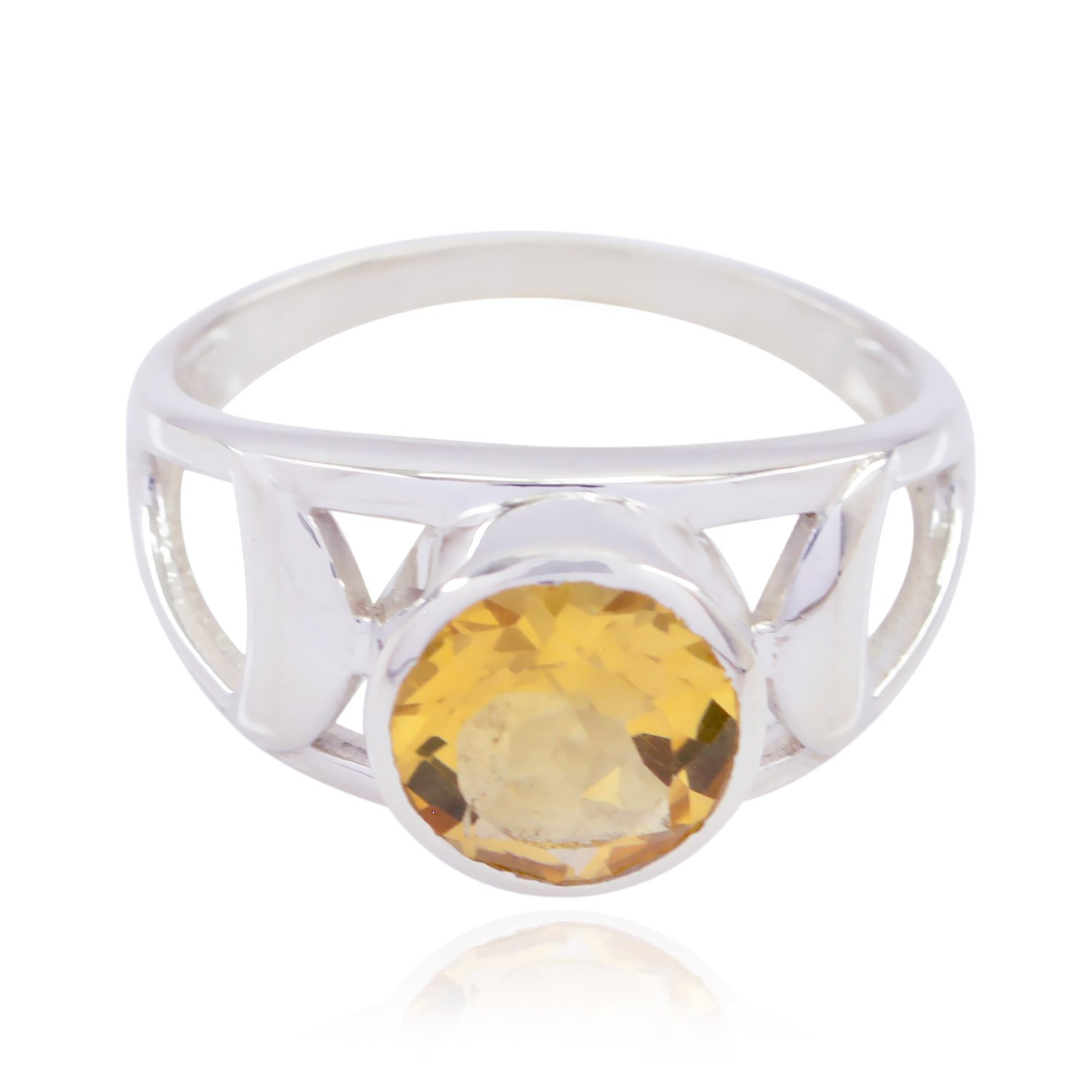 Good Gemstones Round Faceted Citrines Ring - Fashion Silber Yellow Citrines Good Gemstones Ring - Supply Jewelry top Item Gift for Graduation Monogram Stack Ring -US 7.75